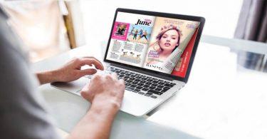 Flip a PDf sul laptop con un effetto di capovolgimento di pagina