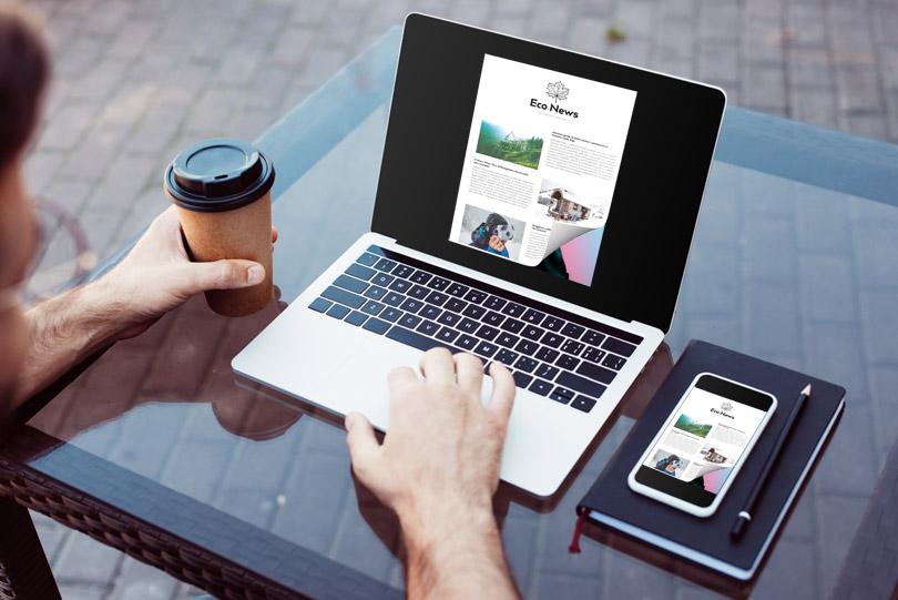 Flip a PDF sul laptop e smartphone con un effetto di capovolgimento di pagina