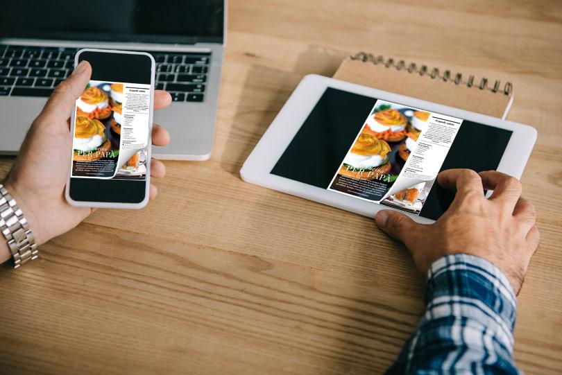 Flip PDF gratis sul tablet e smartphone con un effetto di capovolgimento di pagina
