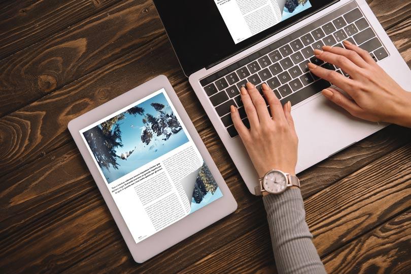 Flip PDF professional sul tablet con un effetto di capovolgimento di pagina