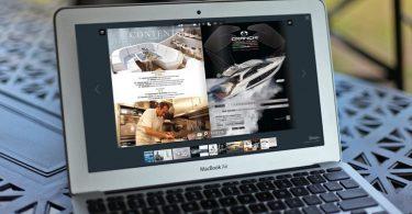 Flipbook PDF sul laptop con un effetto di capovolgimento di pagina