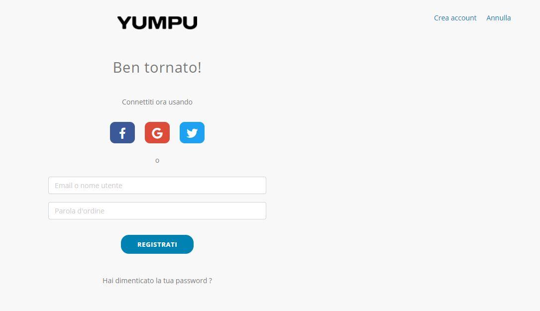 Pagina di registrazione di YumpuPublishing
